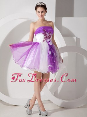 Strapless Short Prom Dress Purple and White A-line Appliques