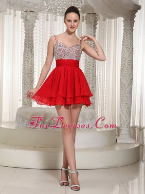 Red Prom Cocktail Dress With Spaghetti Straps Beading