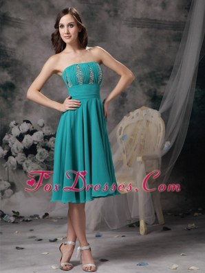 Turquoise Beading Strapless Prom Dress Knee-length