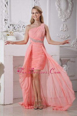High-low Watermelon Beading Red One Shoulder Prom Dress