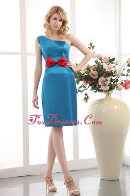 Short Blue Prom Dress One Shoulder Column Bow