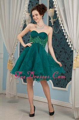Dark Green Appliques Prom Dress A-line Sweetheart