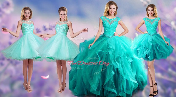 Popular Scoop Tulle Sleeveless Floor Length Vestidos de Quinceanera and Beading and Appliques and Ruffles