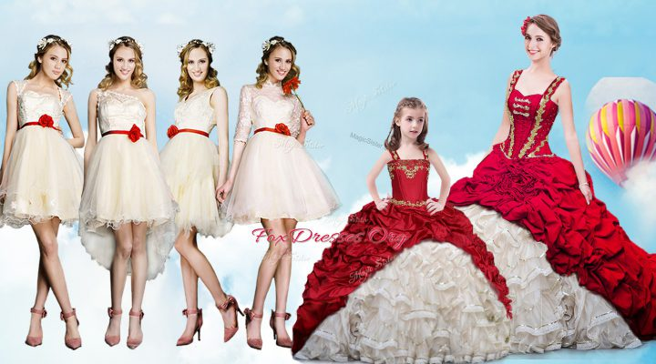 Straps Pick Ups White And Red Sleeveless Organza and Taffeta Brush Train Lace Up Quince Ball Gowns for Military Ball and Sweet 16 and Quinceanera