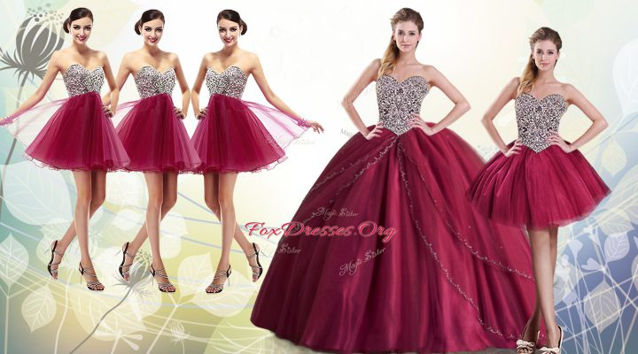 Burgundy Lace Up Sweetheart Beading Quinceanera Dress Tulle Sleeveless Brush Train