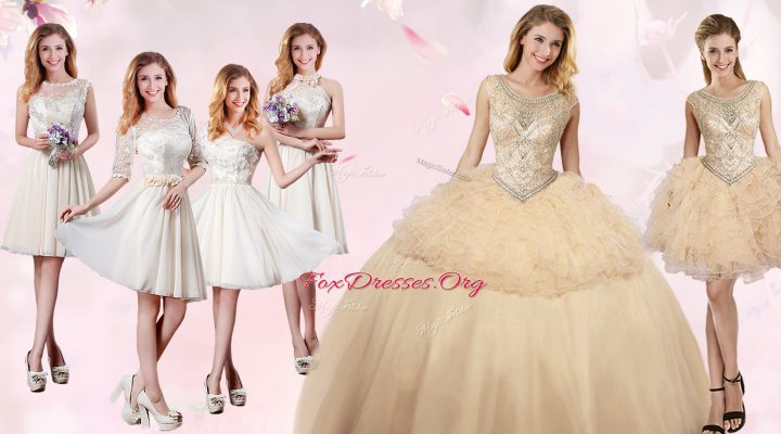 Champagne Scoop Lace Up Beading and Ruffles Sweet 16 Dress Sleeveless