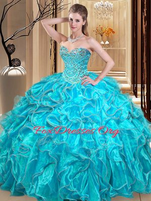 Sumptuous Aqua Blue Sweetheart Neckline Beading and Ruffles Vestidos de Quinceanera Sleeveless Lace Up