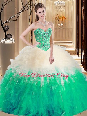 Multi-color Sleeveless Floor Length Embroidery and Ruffles Lace Up Quinceanera Dress