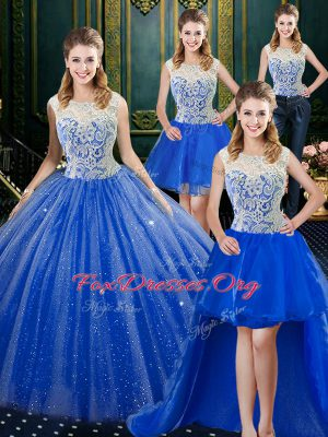Four Piece Royal Blue Tulle Zipper Sweet 16 Dress Sleeveless Floor Length Brush Train Lace