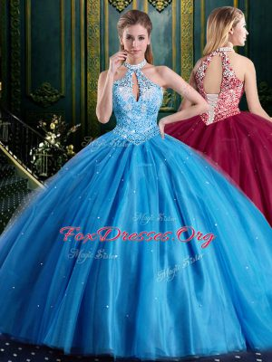 Amazing Halter Top Sleeveless Beading and Lace and Appliques Lace Up Sweet 16 Dresses