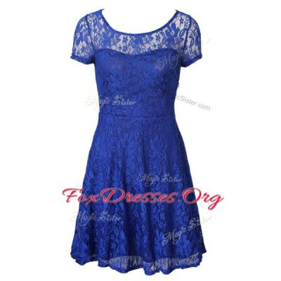 Blue Dress for Prom Prom and Party and For with Lace Scoop Short Sleeves Side Zipper