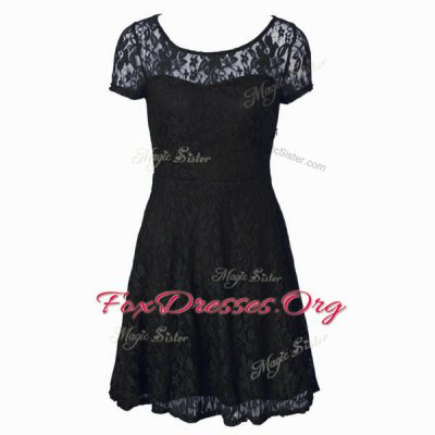 Suitable Scoop Short Sleeves Side Zipper Tea Length Lace Dress for Prom