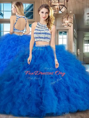 Elegant Blue Scoop Neckline Beading and Ruffles Quinceanera Dresses Sleeveless Backless