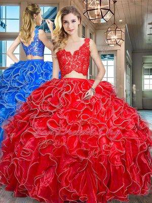 V-neck Sleeveless Organza Sweet 16 Dresses Lace and Ruffles Zipper