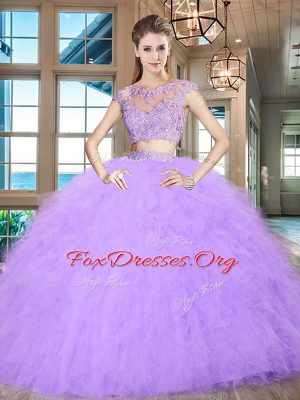 Lavender Two Pieces Tulle Scoop Cap Sleeves Beading and Appliques and Ruffles Floor Length Zipper Quince Ball Gowns