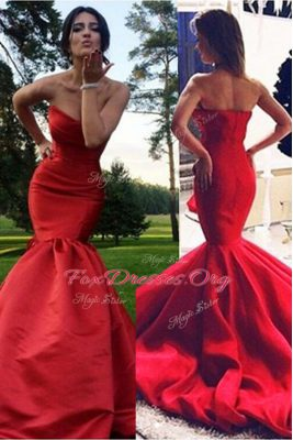 Super Mermaid Red Elastic Woven Satin Zipper Sweetheart Sleeveless Evening Wear Sweep Train Pleated