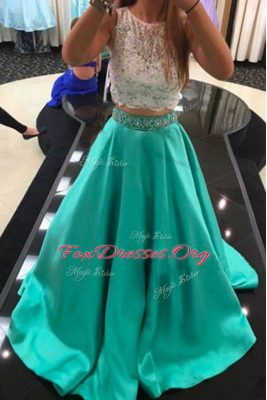 Custom Made Scoop Turquoise Sleeveless Beading and Lace With Train Dress for Prom