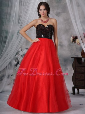 Fashion Red And Black Long Prom Pageant Dress