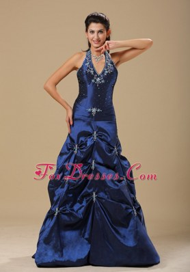 Cheap Navy Blue Halter Pick-ups Long Prom Dress In 2013