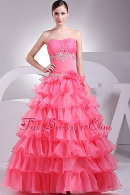 2013 Prom Dress Ruffled Layers With Watermelon Red Appliques