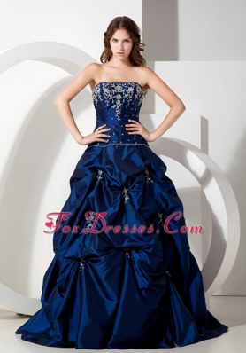 Popular Navy Blue Appliques A-line Strapless Taffeta Prom Dress