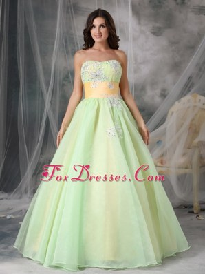 Popular Yellow Green A-line Appliques Prom Evening Dress