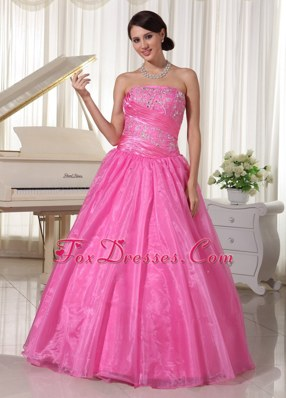 Pretty Rose Pink Strapless Beading Prom Pageant Dress