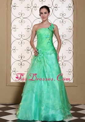 Turquoise One Shoulder Prom Dress Hand Made Flowers