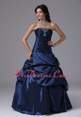 Romantic Beading Navy Blue Strapless Ball Gown 2013 Prom Dress
