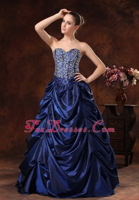 Navy Blue Evening Dress For 2013 Beading Bodice Pick-ups