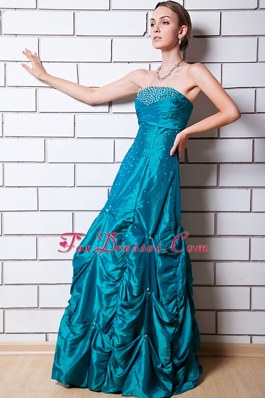 Teal Pick Ups A-line Beading Prom Dress Strapless Taffeta