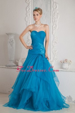 Tulle Appliques and Ruche Teal Brush Train Prom Dress