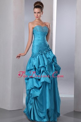Ruches Blue Pick-ups Prom Dress Column Flowers Prom Dress