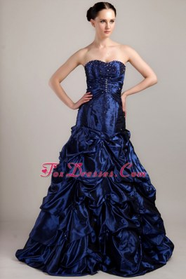 Navy Blue Ruches Pick-ups Prom Dress A-line Sweetheart