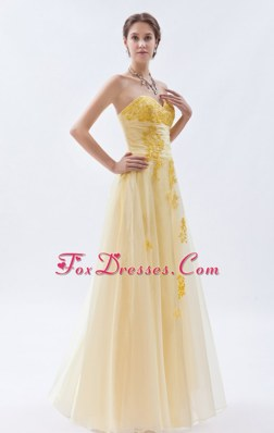 Champagne Embroidery Prom Dress Princess Floor-length