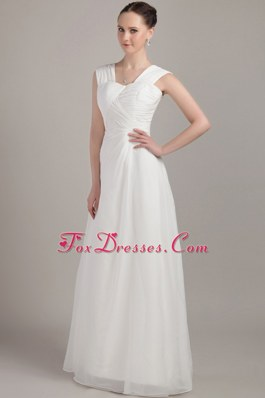White Empire Straps Chiffon Ruche Bridesmaid Dress for 2013