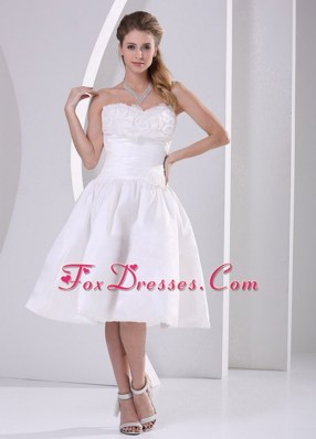 Wholesale Price Ruch Ruffles Tea-length Wedding Dress