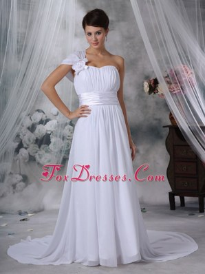 Elegant Column Court Ruched Wedding Dress One Shoulder