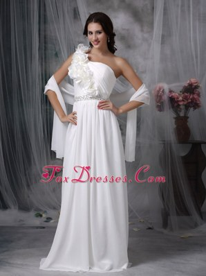 Empire One Shoulder Brush Wedding Dress Chiffon Beading