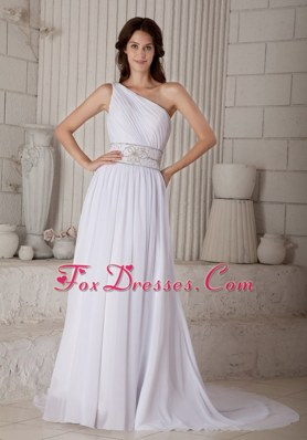 Formal One Shoulder Beading Wedding Dress Belt