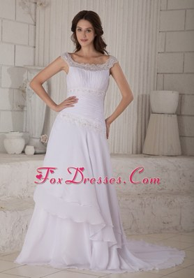Beautiful Scoop Court Train Chiffon Wedding Dress