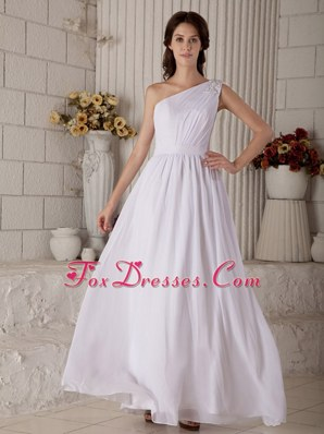 Latest Empire One Shoulder Long Chiffon Wedding Gown