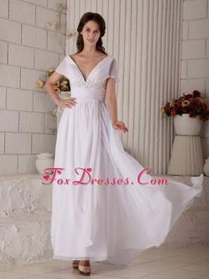 Sexy Empire V-neck Brush Train Chiffon Bridal Gown