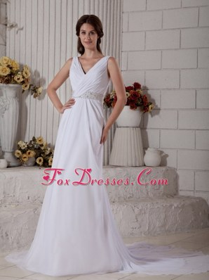 New Column V-neck Court Train Ruched Dress for Wedding