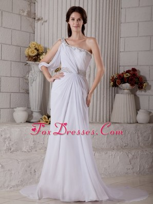 Elegant Column One Shoulder Court Train Wedding Dress
