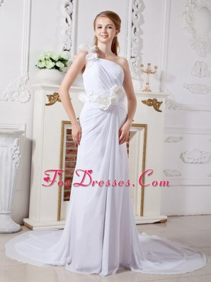 Unique Column One Shoulder Chapel Train Chiffon Wedding Dress