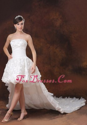 Unique High-low Wedding Dress With Rolling Flowers Brush Train