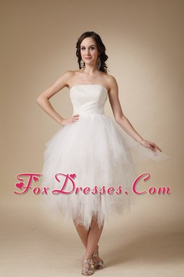 Lovely Strapless Tea-length Tulle Beading Wedding Dress