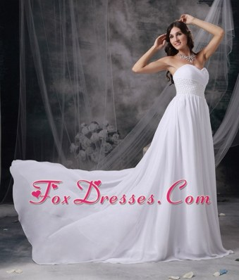 Empire Sweetheart Chiffon Appliques and Ruch Wedding Dress