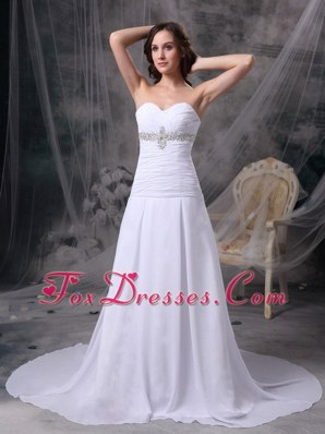 Princess Sweetheart Court Train Chiffon Ruched Bridal Gown